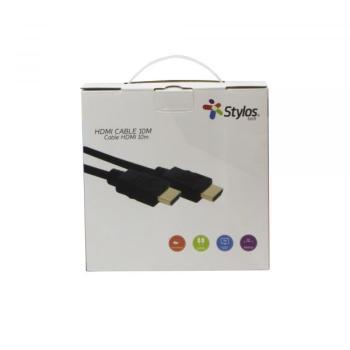 CABLE HDMI STYLOS 10 MTS CIRCULAR NEGRO STACHD12905018