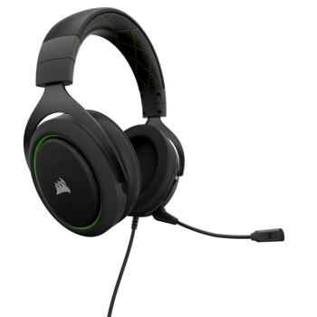 HEADSET CORSAIR HS50 STEREO GAMING GREEN 3.5 MM CA-9011171-NA