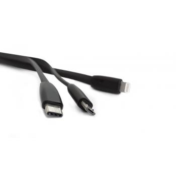 CABLE MICRO USB- LIGHTNING- TIPO C 2,4A NEGRO CAB-300 VORAGO